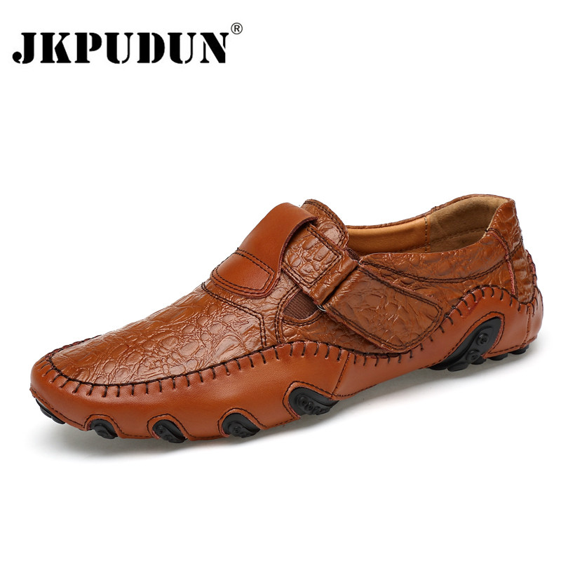 JKPUDUN Genuine Leather Men Casual Shoes Luxury Brand 2017 Mens Loafers Fashion Breathable Driving Shoes Slip On Comfy Moccasins pl us size 38 47 handmade genuine leather mens shoes casual men loafers fashion breathable driving shoes slip on moccasins