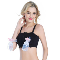 New New Women Hands-Free Maternity Breast Pump Bra Breastfeeding Nursing Bra Pumping Milk Bra Cotton Spandex Black Pink