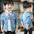 Lace Girls Outerwear Baby Girl Clothes Spring Autumn Fashion Cartoon Baby Kids Jacket Long Sleeve Diamond Girls Denim Jean Coat
