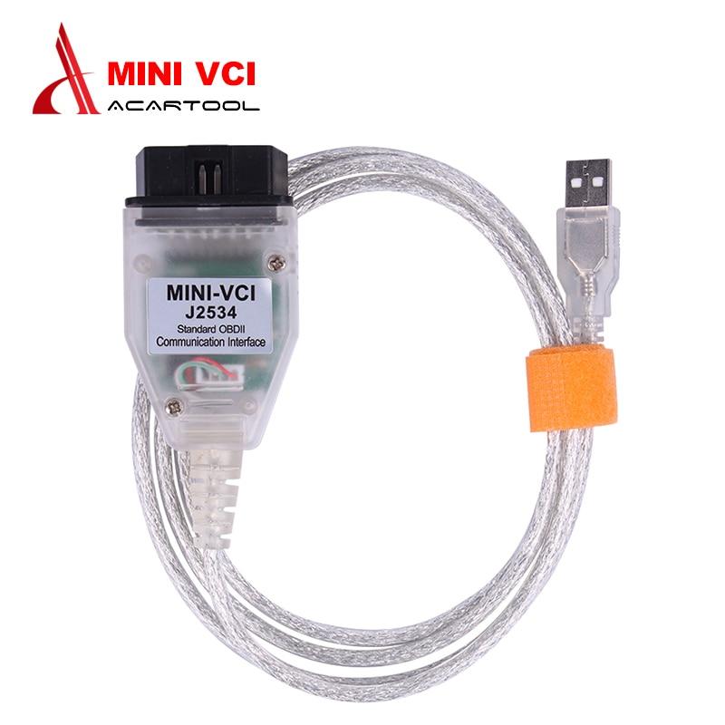 Mini VCI J2534 V14.20.019 OBD2 Interface For Toyota TIS MINI VCI Techstream FTDI FT232RQ Chip OBDII Cars Diagnostic Cable