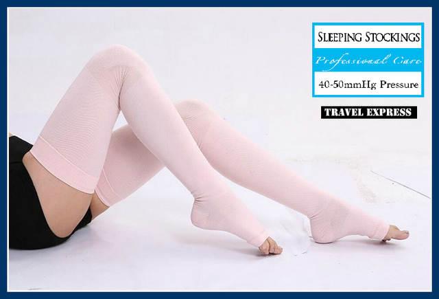 71207b978a6 Online Shop Japan Sleeping Slim Healthy Medical Varicose Veins Stockings  Colorful Woman Knee Thin Leg Anti-Fatigue High Quality Toe exposed