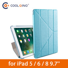 Silk Print Tablets Case For iPad 5 6 8 9.7 Inch Smart Multi-folded PU Cover+PC Protective Cover For iPad 9.7 Case iPad 2018 Case nillkin silk series protective pu leather pc case w auto sleep for iphone 6 plus 5 5 red