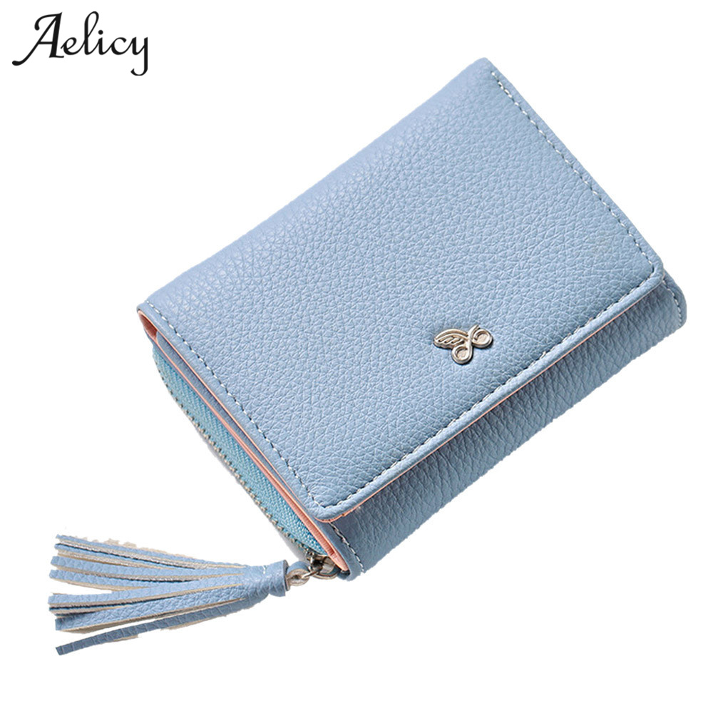 Aelicy Tassels Zipper&Hasp Women Wallet Fashion Designer Lady Small Purse Short Solid Female Clutch Standard Wallets 1031