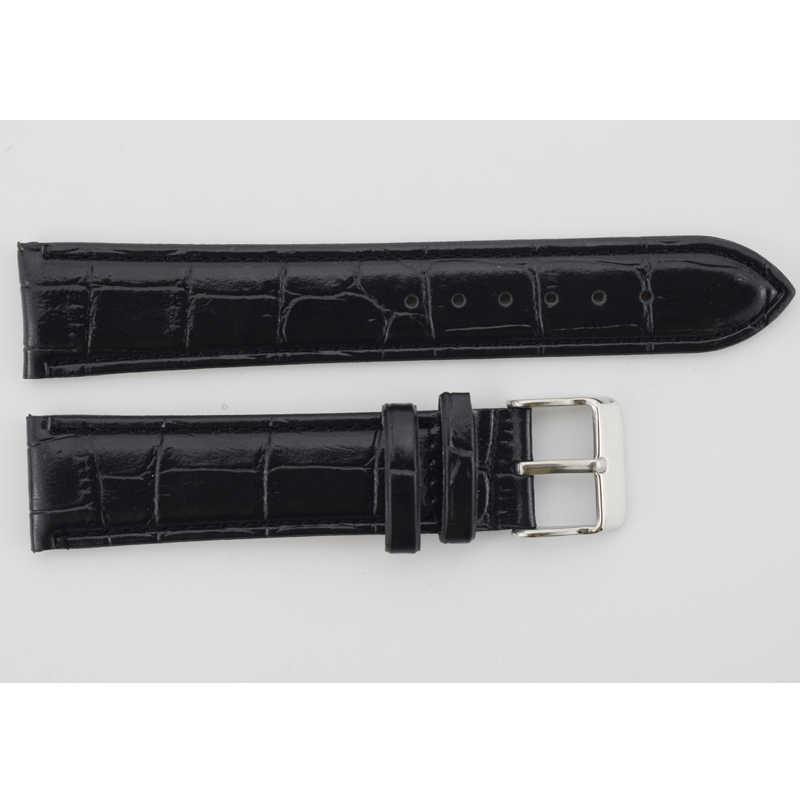 """שחור באיכות גבוהה אופנה חדשה שעונים אבזם סיכת רצועת עור PU רך רצועת השעון 20 מ""""מ"""
