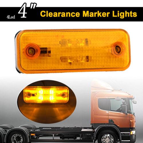 Keyecu 10-30V 4Led Side Marker Light Indicator Lamp for Truck Trailer Lorry Caravan Amber