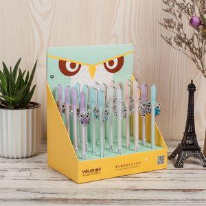 Image 5 - wholesale 20pcs kawaii gel ink pen lot fashion crystal owl pendant pens for school office students stationary cute animal pen