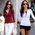 Cool Women's Long Sleeve Slim Chiffon Tops Long Sleeve Shirt Casual Blouse S-XXL