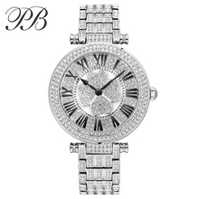 Women Luxury Austria crystal fashion Ladies Wristwatch Genuine Leather Water Proof Wamen Watch HL605
