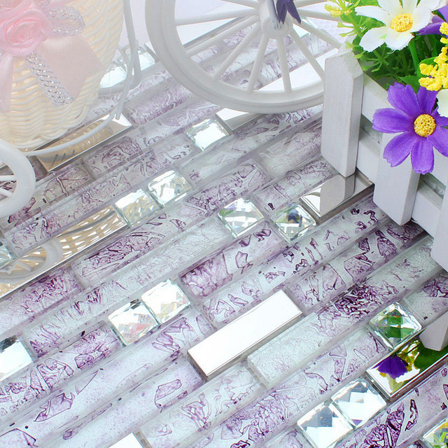 Purple Cyrstal Glass Mixed Stainless Steel Mosaic Tiles