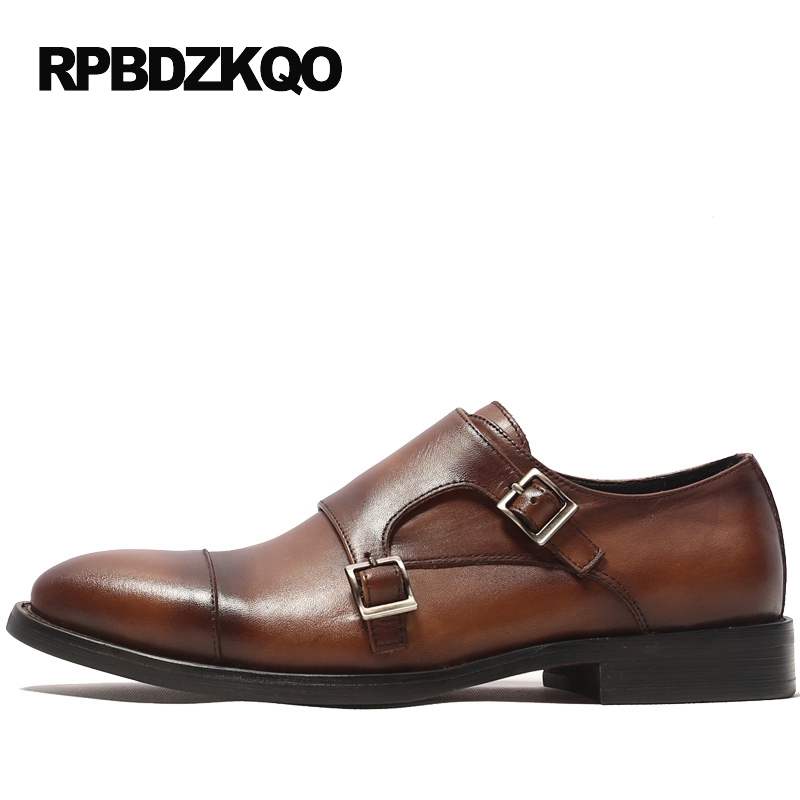 Slip On Flats Formal Monk Strap Handmade Fashion Dress Party Double Brown European High Quality Men Italian Shoes For Wedding