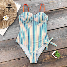 CUPSHE Blue And Orange Stripe Push Up One piece Swimsuit Women Tied Bow Adjustable Moulded Cup Monokini 2020 Girl Sexy Swimwear