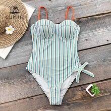 CUPSHE Blue และ Orange Stripe Push Up One piece ชุดว่ายน้ำผู้หญิงผูกโบว์ปรับถ้วยขึ้นรูป Monokini 2020 สาวชุดว่ายน้ำเซ็กซี่