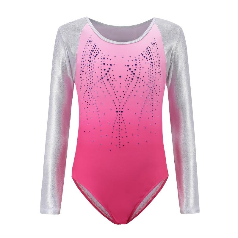 ba66395de3e0 Children\'s ballet gymnastics suit dance practice clothes dance clothes  girls Long sleeve diamond pattern body suit for kids 7