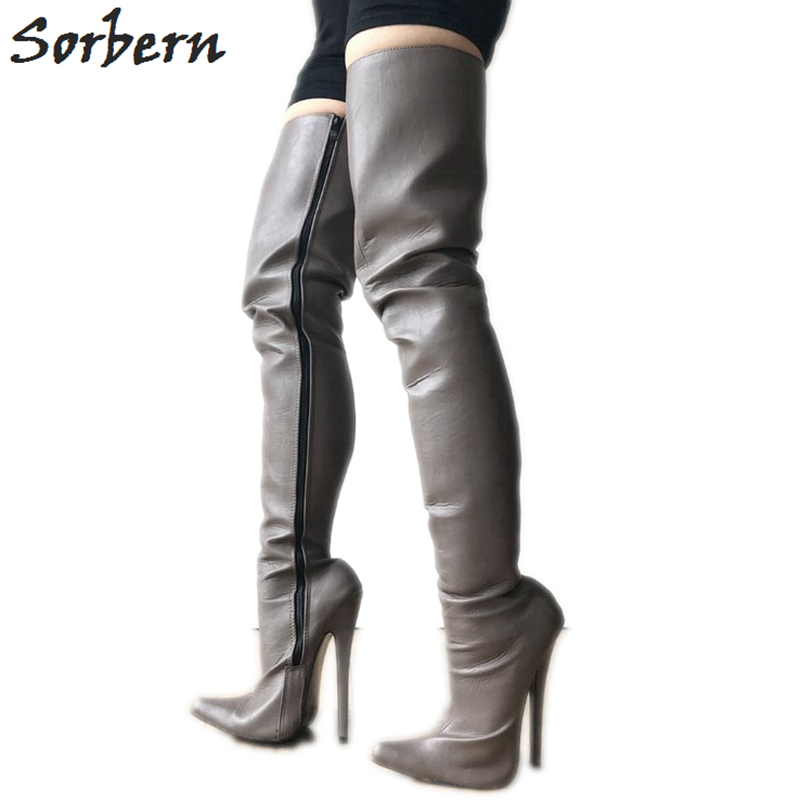 Sorbern Iron Gray Hard Shalft Women Boots Sexy Fetish High Heel 18cm 12cm Boot Ladies Pointy Toe Shoe Custom Slim Wide Legs Women's Boots Shoes