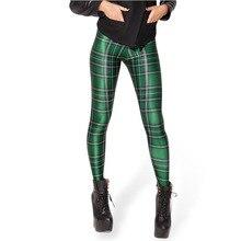 Hot selling TARTAN GREEN REVERSIBLE Leggings LIMITED women high elastic leggings free shipping