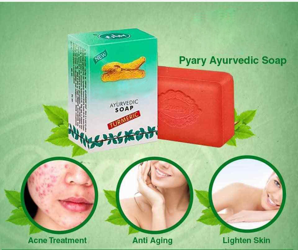 New Ayurvedic Turmeric Soap Anti Aging Acne Treatment Light Skin Free Ship