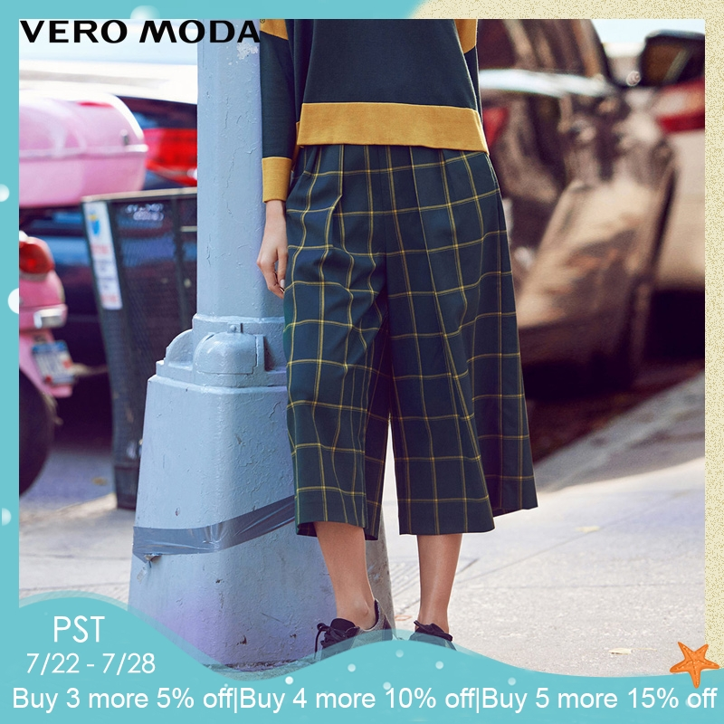 Vero Moda Brand 2019 NEW three quarter trouser regular OL-style side pocket zipper plaid women   wide     leg     pants   |31616J007