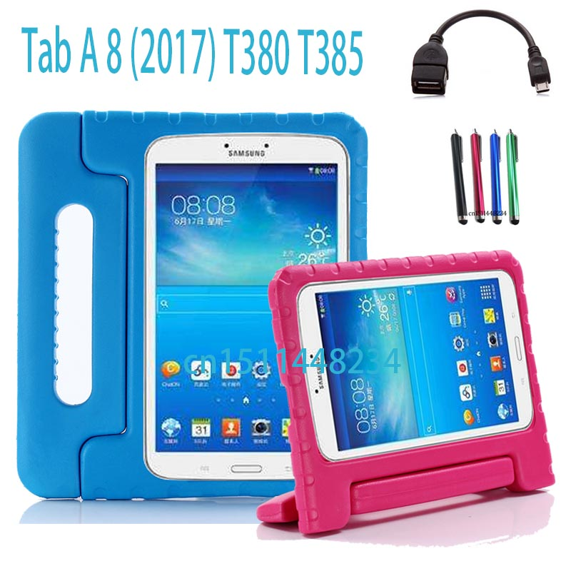 for Samsung Galaxy Tab A 8.0 SM-T380 T385 child baby Tablet shockproof shell cover, handle Support stand EVA silicone case new listing luxury tablet shockproof case cover for samsung galaxy tab a a6 7 0 t280 t285 child fashion back cases stylus