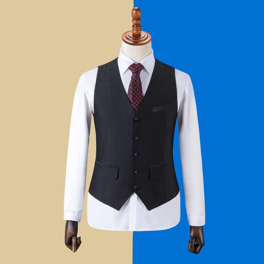 OSCN7 2019 Ekose Özel Yapılmış Takım Elbise Erkekler Slim Fit Düğün Parti Mens Terzi Takım Elbise Moda 3 Parça Blazer Pantolon yelek ZM-591