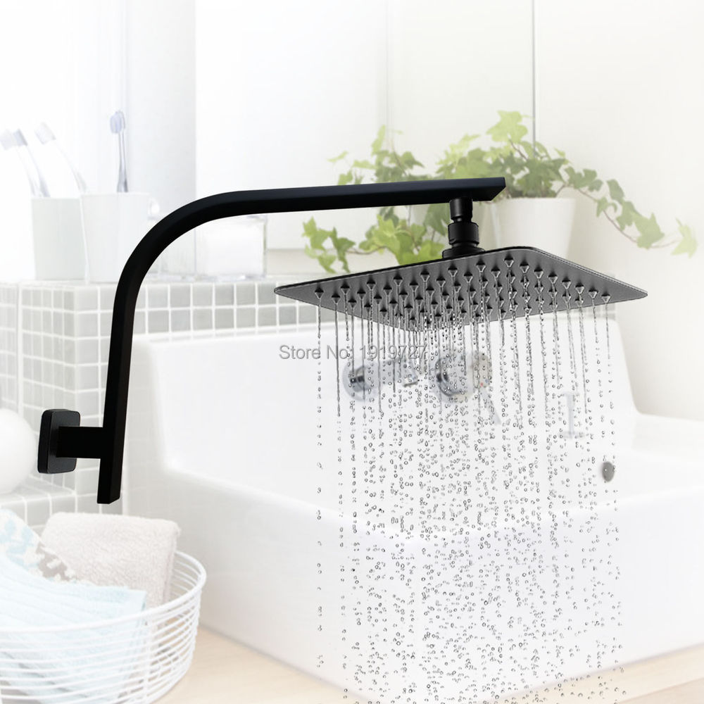 Factory Direct Wels 8 Inch Brass Square Shower Head With Gooseneck Wall Arm Matt Black Rainfall Rose With Cubic Shower Set коляска трость для кукол mary poppins фантазия голуб 41 28 56 см 67319