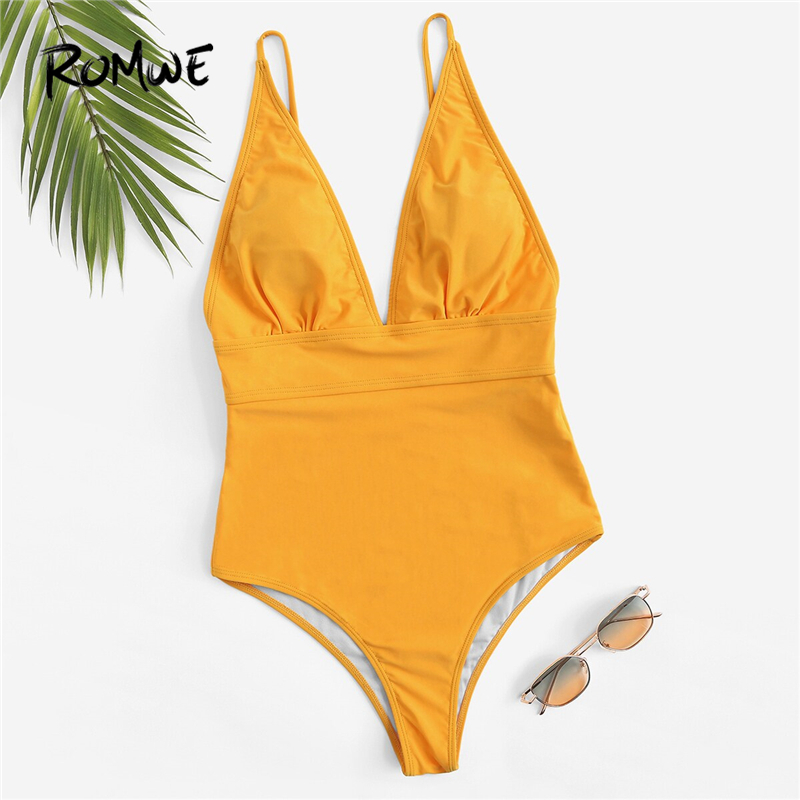 Romwe One-Piece Suits Monokinis Yellow Swimwear Sport Women Summer Open-Back Plain Solid