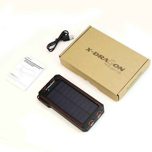 X-DRAGON 15000mAh Power Bank Solar External Battery Power Charger for iPhone Samsung Huawei Smartphones Xiaomi Outdoors Camping