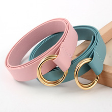 Women Belt For Dress Fashion Beautiful Double Loop Buckle Waistband Gold Metal Round  Jeans Pants