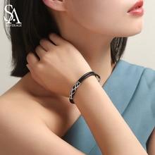 цена SA SILVERAGE 925 Sterling Bracelet Bangle for Woman 925 Silver Zirconia Strand Bracelets Fine Jewelry 17.5cm+3cm Extender 2019 онлайн в 2017 году