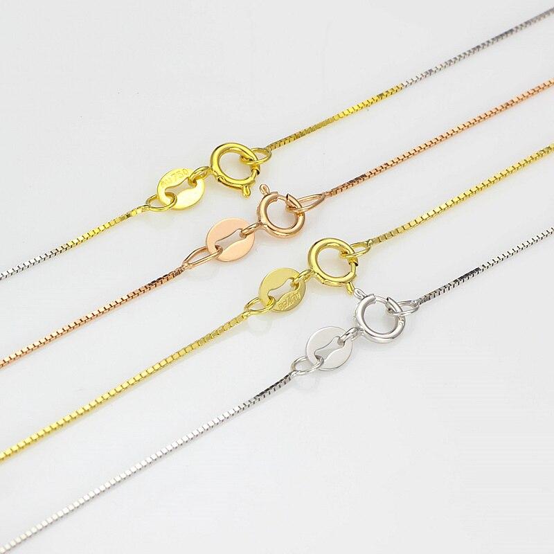 Véritable or 18 K or collier blanc jaune or boîte mince collier mode exquis Shine 16/18 pouces pour les femmes amant meilleur cadeau