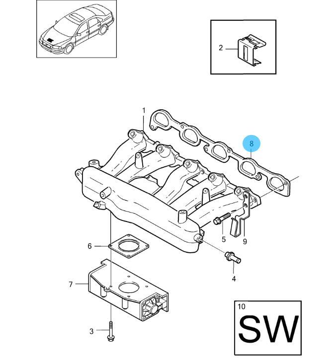 Volvo C70 S60 S70 S80 V70 XC70 XC90 5 Cylinder Intake Manifold Gasket 9458534