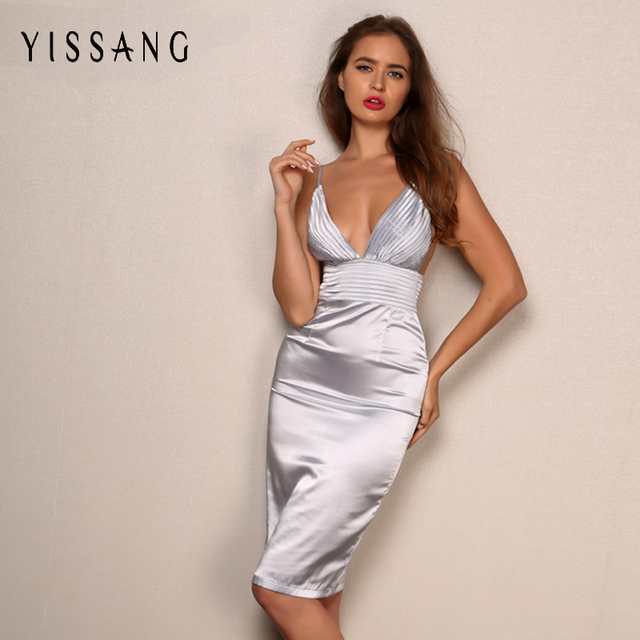 Yissang New Arrival Satin Dress Summer 2017 High Waist Nightclub V Neck  Spaghetti Strap Fashion Knee 57831ee16938