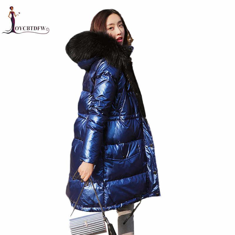 e90af62d6b6c Women Down Jacket Winter Female Coat 2019 New Slim Medium Long Blue  Overcoat Warm Large Fur