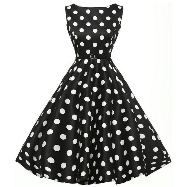 2018 New Spring Short Prom Dresses Classic 1950s Retro Polka Dotted Knee Length Hepburn Style Woman Printing With Sash