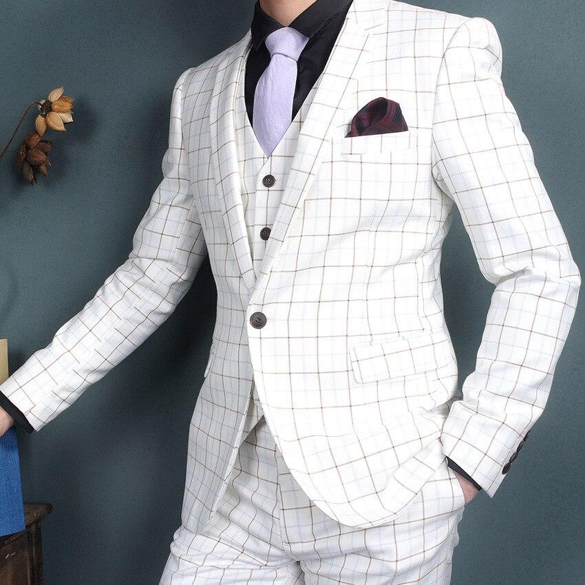 Detalle Comentarios Preguntas sobre 2017 personalizado Delgado Slit Light  Plaid vestido blanco solapa novio esmoquin hombres trajes hombre negocios  traje ... f0ab5c832e8