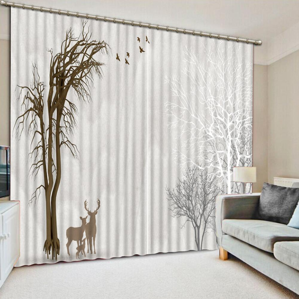 US $64.5 57% OFF|japanese door curtain customize European curtains Abstract  tree living room Bedroom window curtains-in Curtains from Home & Garden on  ...