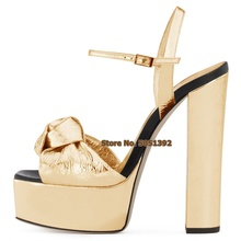 Women High Heel Bowtie Chunk Heel Sandals High Platform Peep Toe Butterfly-knot Square Heel Buckle Party Banquet Sliver Shoes women faux suede buckle strap platform thick high heel sandals fashion party cover heel print knot bow women shoes black