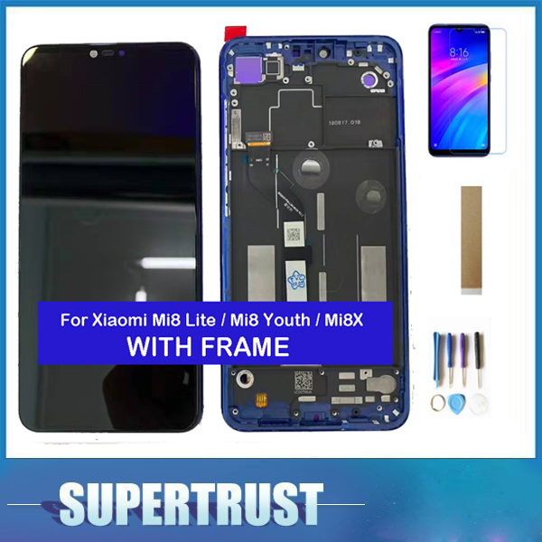 With Frame For Xiaomi Mi8 Lite Mi8 Youth Mi8X LCD Display Touch Screen Sensor Digitizer Glass Assembly Black Blue + Kits