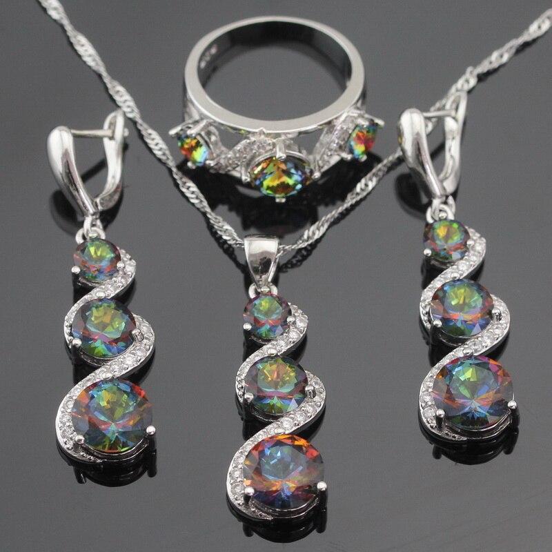 Multicolor Arco Iris de Cristal de Color Plata Anillo Colgante de Collar de La J