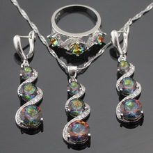 Multicolor Arco Iris de Cristal de Color Plata Anillo Colgante de Collar de La Joyería Para Las Mujeres Pendientes de Gota Largos de Navidad Caja de Regalo Libre