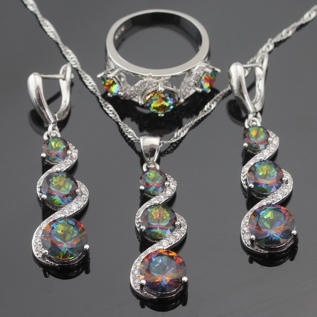 Multicolor Rainbow Crystal Silver Color Jewelry Sets For Women Long Drop Earrings Necklace Pendant Ring Christmas Free Gift Box