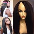 7A Barato Kinky Recta U Parte Pelucas de Pelo Humano Para Negro mujeres Brasileño de la Virgen Del Pelo U Parte Pelucas Glueless Upart Yaki Grueso pelucas