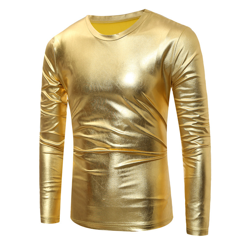 Gold Coated Metallic T Shirt Men Long Sleeve O Neck Men T-shirt Night Club Mens T Shirts Shiny Gold Hip Hop Tee Shirt CT01