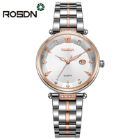 Rosdn Роскошные брендовые Для женщин Часы Мода Кварцевые водонепроницаемые женские часы из нержавеющей стали Для женщин со стразами Часы Relogio