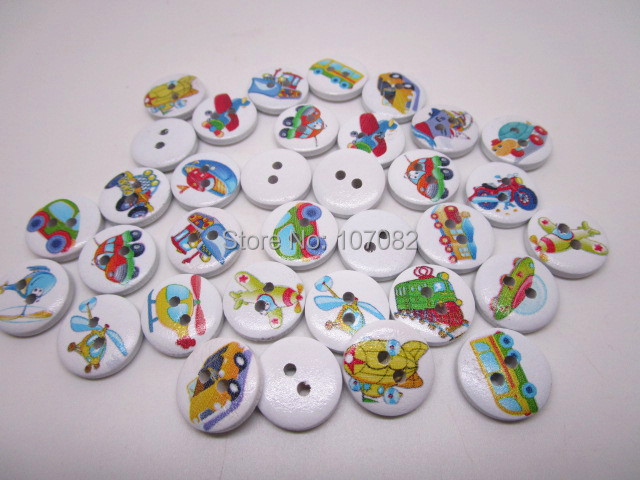 1000pcs 15mm Multi Transport Wooden Buttons Car Train Plane Boat Baby Sewing Crafts Scrapbooking Wood 2 Holes Round Button