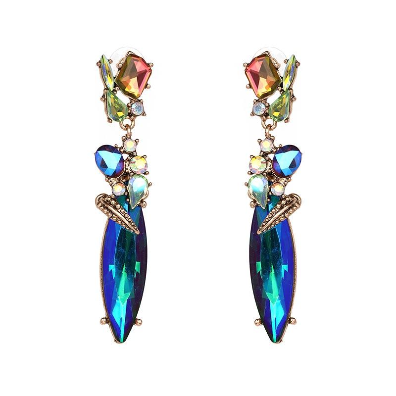 2017 Նոր տաք զարդեր լավ որակի բյուրեղյա մուլտիկլոր բարակ Հատուկ Bohemia Մեծ երկար ականջողներ կանանց համար էժան նուրբ փայլում