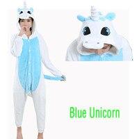 New 2017 Rose Pink Blue Unicorn Adult Pajamas Cosplay Cartoon Animal Onesie Sleepwear Christmas Halloween Costume