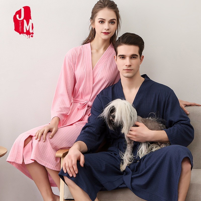 Lovers Summer Waffle Bathrobe Man And Women Kimono Bath Robe Plus Size Sexy Peignoir Dressing Gown Bridesmaid Loungewear Robes