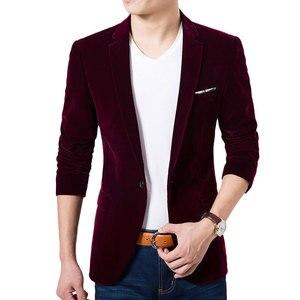 Image 4 - High Quality Royal Blue Velvet Blazer Men 2017 New Autumn Korean Fashion Mens Slim Single Button Blazer Jacket Wedding Blazer