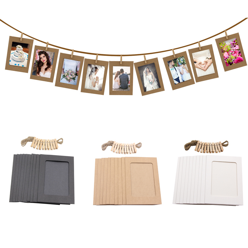 10 Pieces DIY Paper Photo Frame Wooden Clip Picture Holder For Wedding Baby Shower Birthday Party Photo Booth Props Decoration