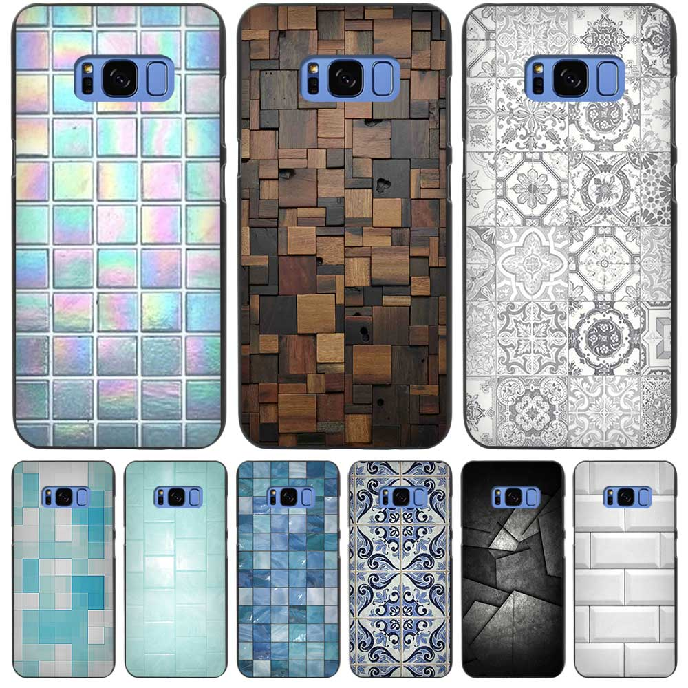 Bathroom tiles texture - Bathroom Square Tiles Texture Black Case Cover Shell Coque For Samsung Galaxy S3 S4 S5 Mini